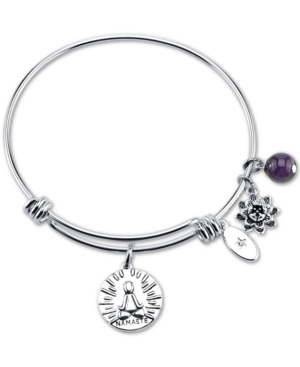 "Unwritten ""Breathe it All Out."" Namaste Flower Charm Adjustable Bangle Bracelet in Stainless Steel"