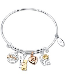 """Love"" Cat and Dog Paw Charm Adjustable Bangle Bracelet in Tri-Tone & Stainless Steel"