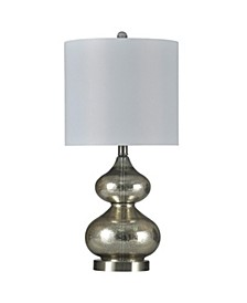 Old Mercury 25in Vivid Glass Body and Brushed Steel Base Table Lamp