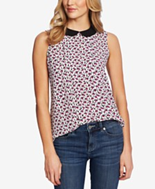 CeCe Floral-Print Sleeveless Top
