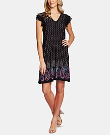 Paisley-Print Flutter Sleeve Dress