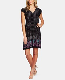 CeCe Paisley-Print Flutter Sleeve Dress