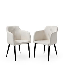 AC Pacific Jason Modern Living Room Accent and Dining Arm Chair, Set of 2