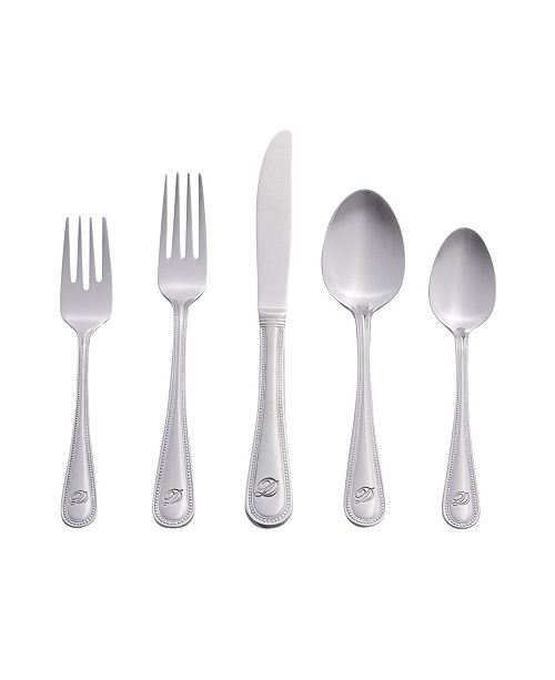 RiverRidge Home Riverridge Beaded 46 Piece Monogrammed Flatware Set - D, Service for 8
