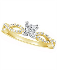 Certified Princess Cut Diamond Engagement Ring (3/4 ct. t.w.) in 14k White Gold, Rose Gold, or Yellow Gold