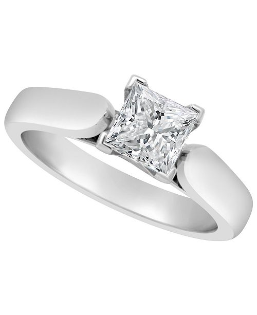 Macy S Certified Princess Cut Diamond Solitaire Engagement Ring 1 Ct T W In Platinum Reviews Rings Jewelry Watches Macy S
