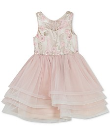 Rare Editions Toddler Girls Illusion Neck Embroidered Dress