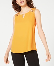 BCX Juniors' Lattice-Shoulder Keyhole Top
