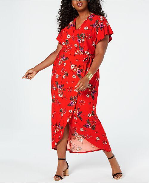 Juniors\' Plus Size Faux-Wrap Maxi Dress