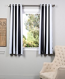 """Exclusive Fabrics & Furnishings Awning Stripe Grommet Blackout 50"""" x 63"""" Curtain Panel"""
