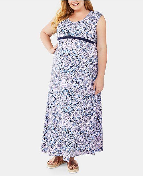Jessica Simpson Maternity Plus Size Printed Maxi Dress
