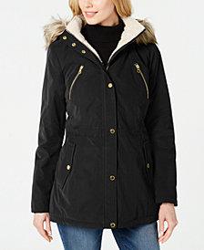 Nautica Faux-Fur-Trim Hooded Anorak Coat