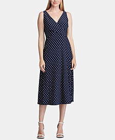 Polka-Dot-Print Sleeveless Jersey Midi Dress