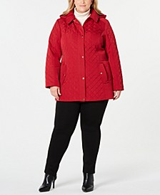 Plus Size Hooded Quilted Jacket