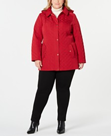 Jones New York Plus Size Hooded Quilted Jacket