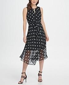 Keyhole Polka-Dot Printed Chiffon Midi Dress