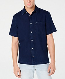Men's Boxy-Fit Indigo Herringbone Shirt