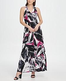 V-Neck Printed Jersey Maxi Dress