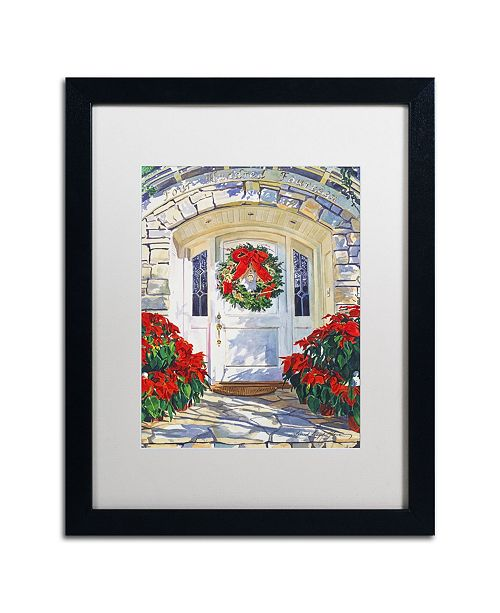"Trademark Global David Lloyd Glover 'Poinsettia House' Matted Framed Art - 16"" x 20"""