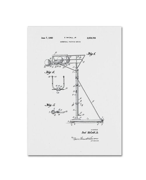 """Trademark Global Claire Doherty 'Practice Device Patent 1960 Part 1 White' Canvas Art - 18"""" x 24"""""""