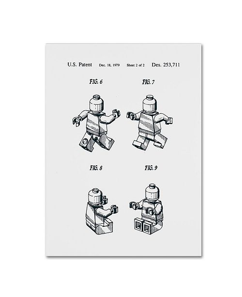 """Trademark Global Claire Doherty 'Lego Man Patent 1979 Page 2 White' Canvas Art - 14"""" x 19"""""""