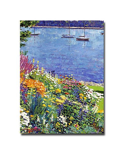"""Trademark Global David Lloyd Glover 'Sailboat Bay Garden' Canvas Art - 32"""" x 26"""""""