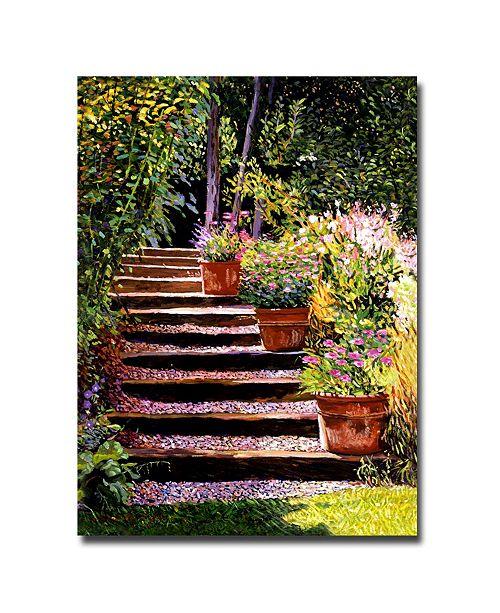 "Trademark Global David Lloyd Glover 'Pink Daisies Wooden Steps' Canvas Art - 47"" x 35"""