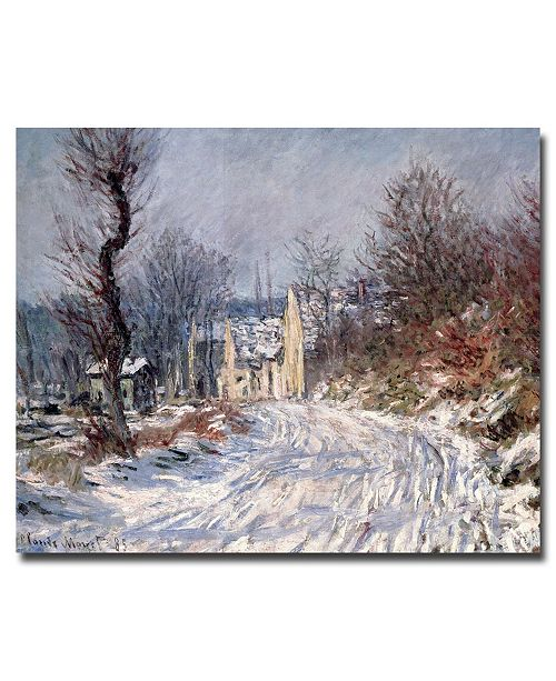 "Trademark Global Claude Monet 'The Road of Giverny, Winter, 1885' Canvas Art - 24"" x 14"""