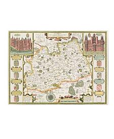 """Jodocus Hondius 'Map of Surrey' Canvas Art - 47"""" x 35"""""""