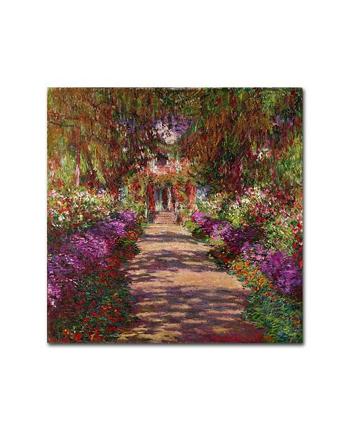 "Trademark Global Claude Monet 'A Pathway in Monet's Garden' Canvas Art - 14"" x 14"""