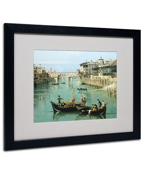 """Trademark Global Canaletto 'Arno River and Ponte Vecchio' Matted Framed Art - 20"""" x 16"""""""