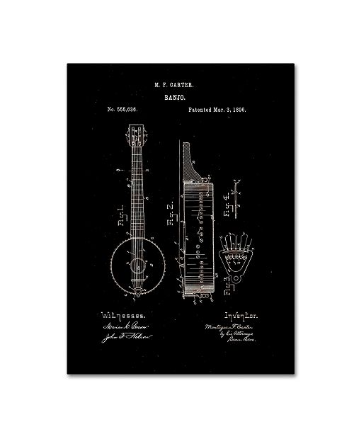 "Trademark Global Claire Doherty 'Vintage Banjo Patent 1896 Black' Canvas Art - 14"" x 19"""