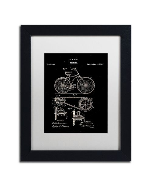 """Trademark Global Claire Doherty 'Bicycle Patent 1890 Black' Matted Framed Art - 11"""" x 14"""""""