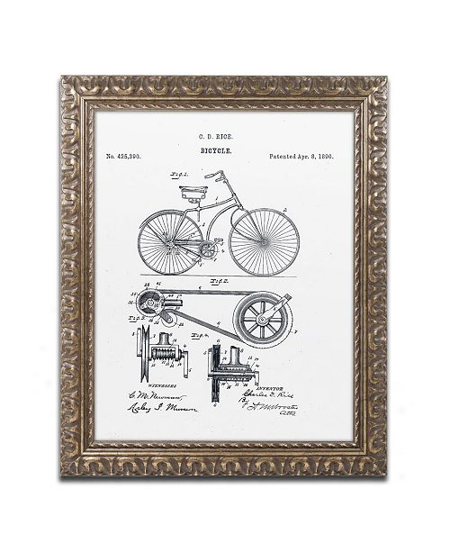 "Trademark Global Claire Doherty 'Bicycle Patent 1890 White' Ornate Framed Art - 11"" x 14"""