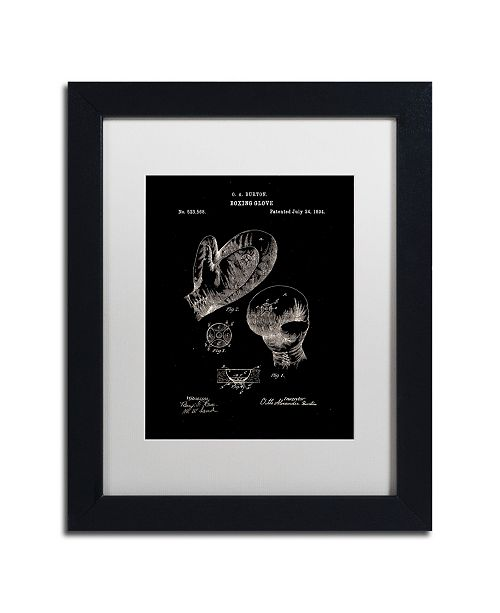 """Trademark Global Claire Doherty 'Boxing Gloves Patent 1894 Black' Matted Framed Art - 11"""" x 14"""""""