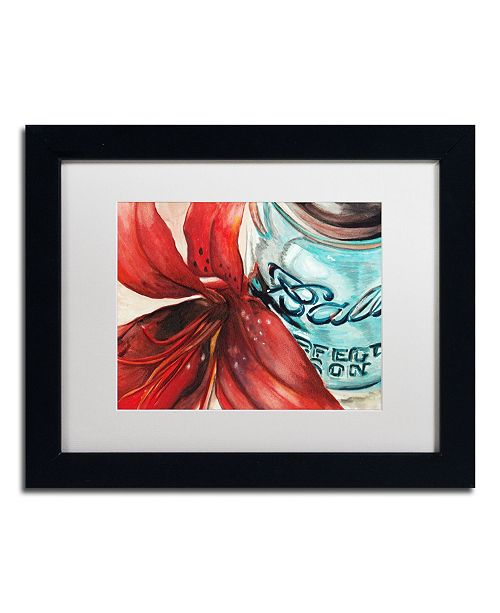 "Trademark Global Jennifer Redstreake 'Ball Jar Red Lily' Matted Framed Art - 11"" x 14"""