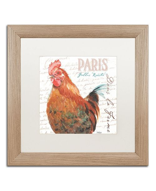 "Trademark Global Jennifer Redstreake 'Dans la Ferme Rooster I' Matted Framed Art - 16"" x 16"""