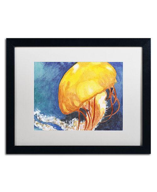 "Trademark Global Jennifer Redstreake 'Jelly Fish II' Matted Framed Art - 16"" x 20"""