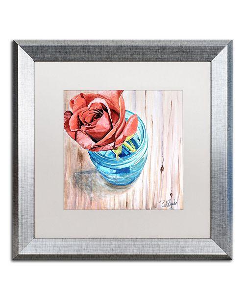 "Trademark Global Jennifer Redstreake 'Rose in Jar' Matted Framed Art - 16"" x 16"""
