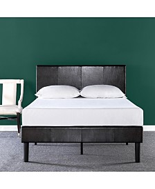 Zinus Gerard Deluxe Faux Leather Upholstered Platform Bed / Wood Slat Support, California King
