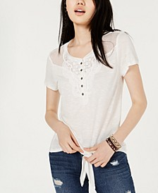 Juniors' Crochet-Trimmed Tie-Front T-Shirt, Created for Macy's
