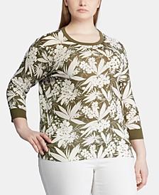 Plus Size Botanical-Print 3/4-Sleeve Sweater