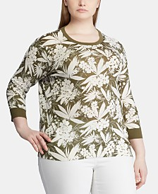 Lauren Ralph Lauren Plus Size Botanical-Print 3/4-Sleeve Sweater