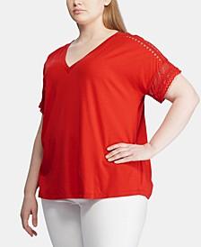 Plus Size Lace-Trim Short-Sleeve Top