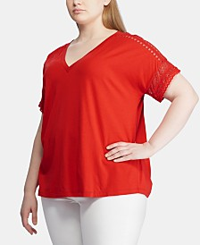 Lauren Ralph Lauren Plus Size Lace-Trim Short-Sleeve Top