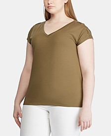 Plus Size Lace-Up Short-Sleeve Top
