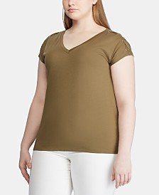 Lauren Ralph Lauren Plus Size Lace-Up Short-Sleeve Top