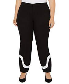 Alfani Plus Size Colorblock-Hem Ankle Pants, Created for Macy's