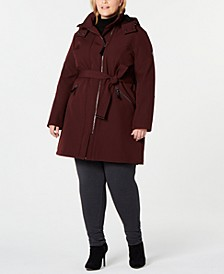 Plus Size Water Resistant Belted Hooded Raincoat, Created for Macy's