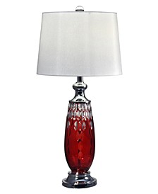 Red Crystal Lead Hand Cut Crystal Table Lamp
